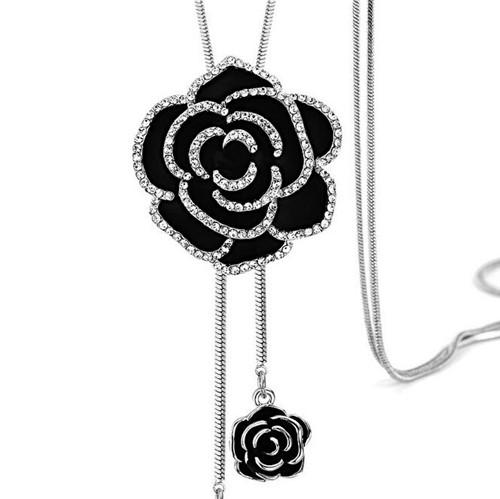 Ravimour zircon long necklace for women fashion silver color crystal ravimour zircon long necklace aloadofball Images