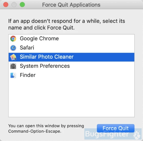 similar photo cleaner force quit