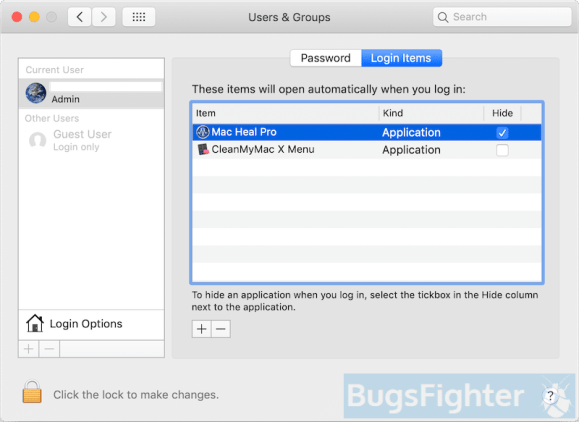 remove mac heal pro login item