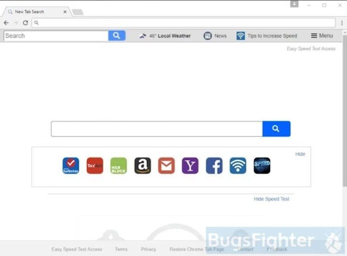 easy speed test access toolbar