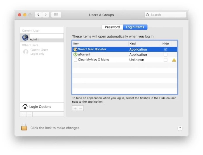 remove Smart Mac Booster from login items