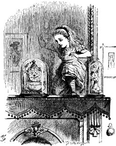 Sir John Tenniel's drawing of Alice Passing Through The Looking Glass