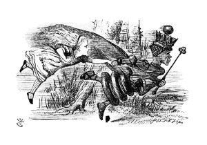 Sir John Tenniel's drawing of Alice and the Red Queen Running