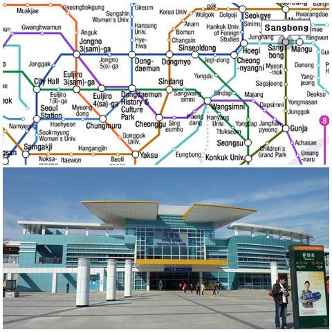 Take the Gyeongchun line at Sangbong station (top) and get off at Gapyeong station (bottom).