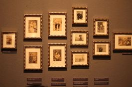 A collection of framed photos