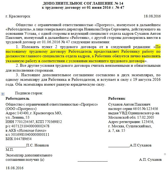 Изменения в штатном расписании связи с переименованием должности