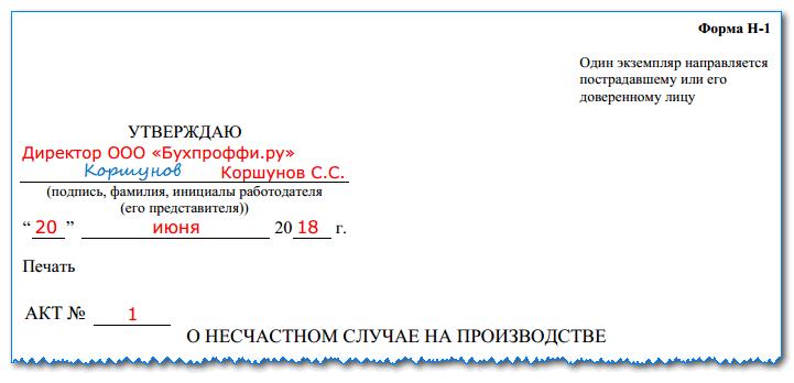 Акт о несчастном случае на производстве Акт по форме н 5