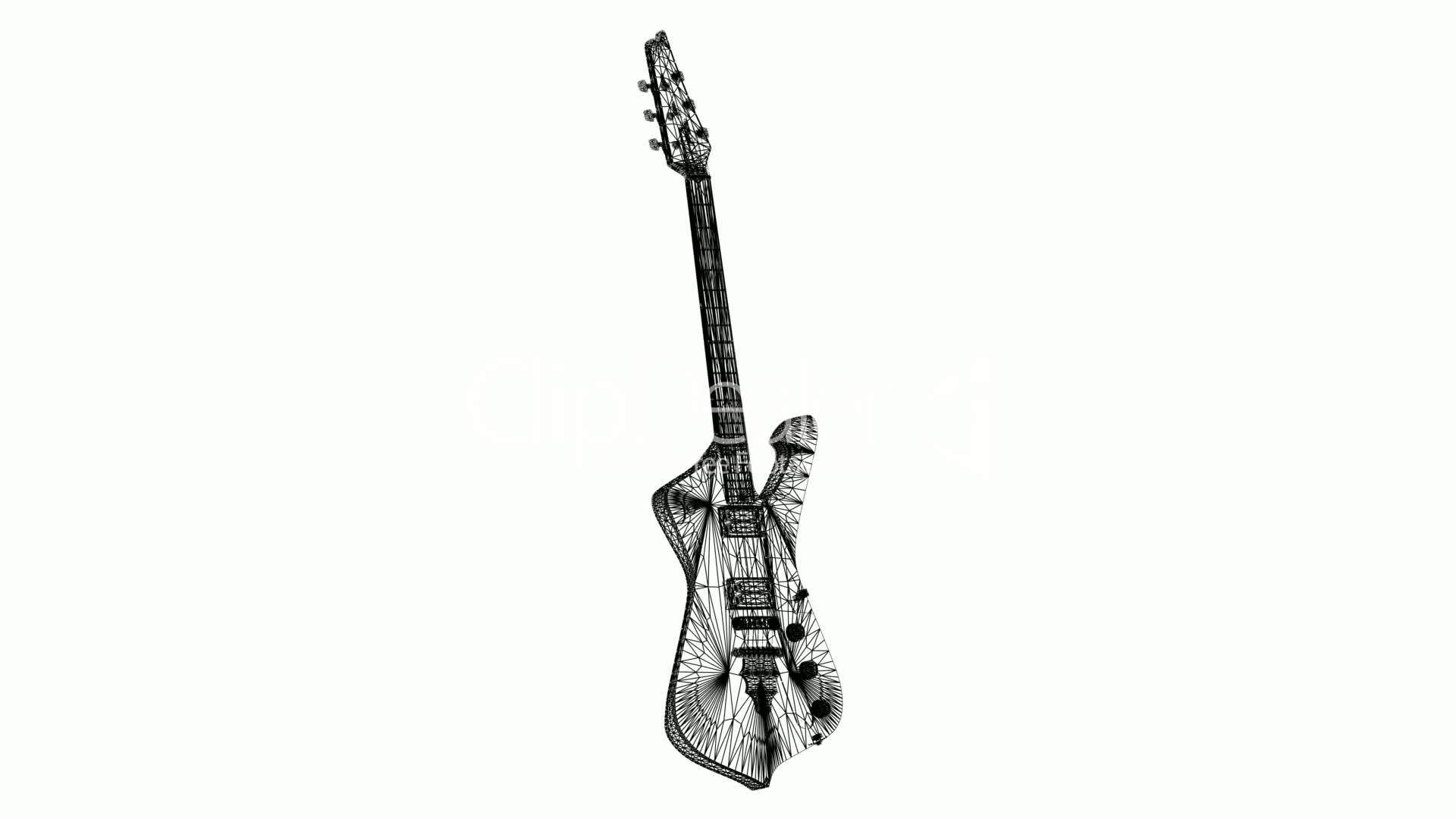 Rotation Of 3d Electric Guitar Sic Musical Instrument
