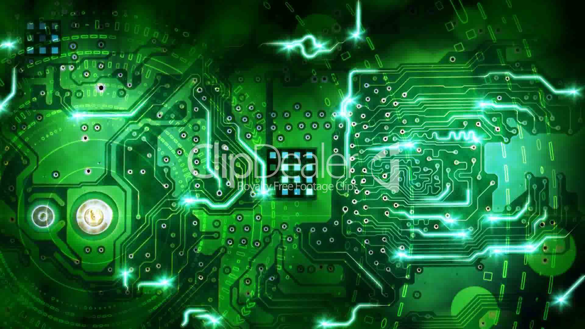 Green Computer Circuit Board Background Loop Royalty Free