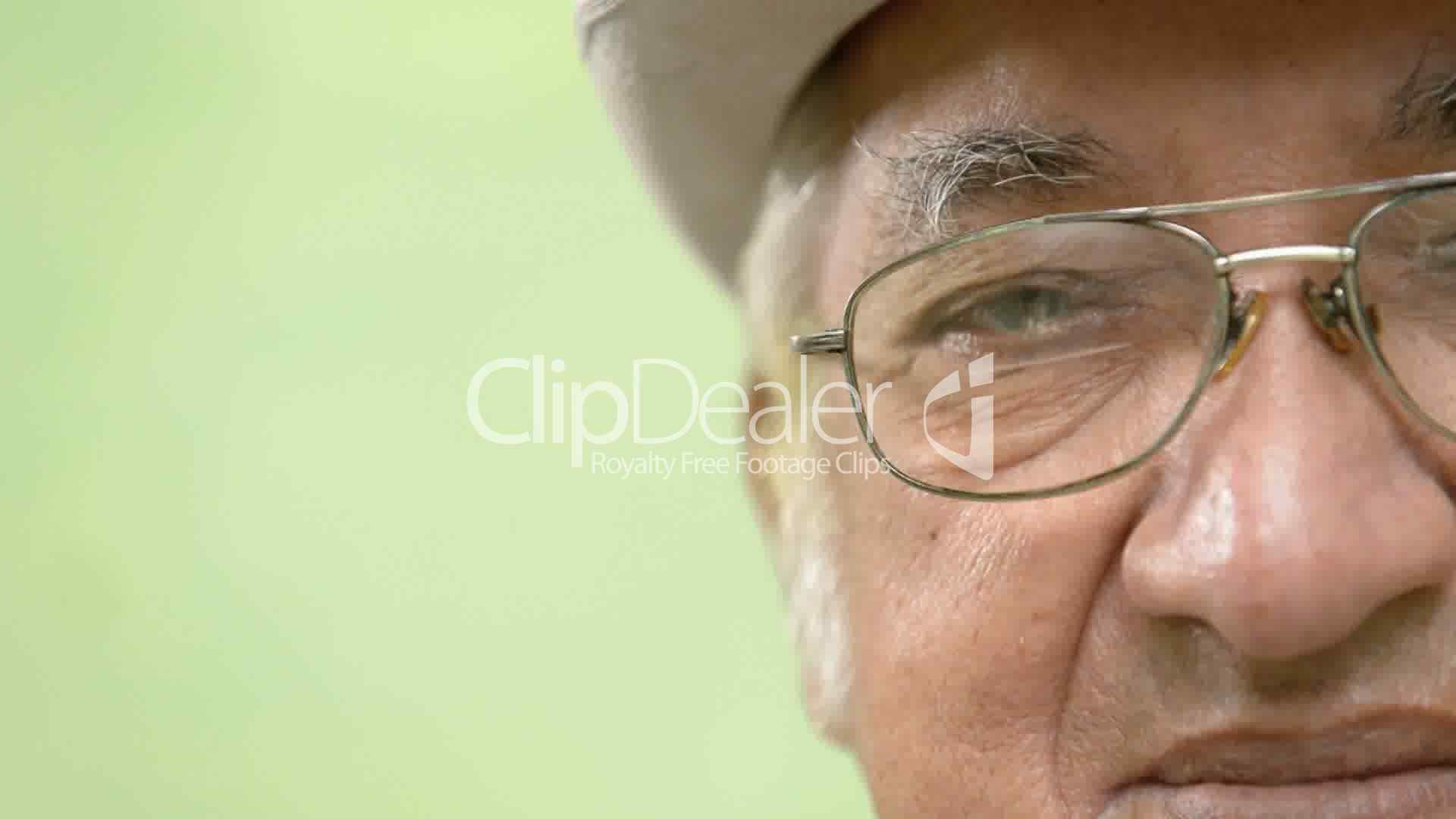 Elderly People Portrait Happy Old Man With Hat And