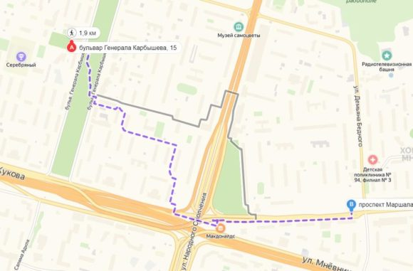 путь пешком от жк юнион парк до метро улица народного ополчения
