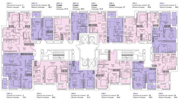 план этажа жк огни корпус 1
