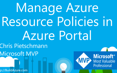 Manage Azure Resource Policies in the Azure Portal