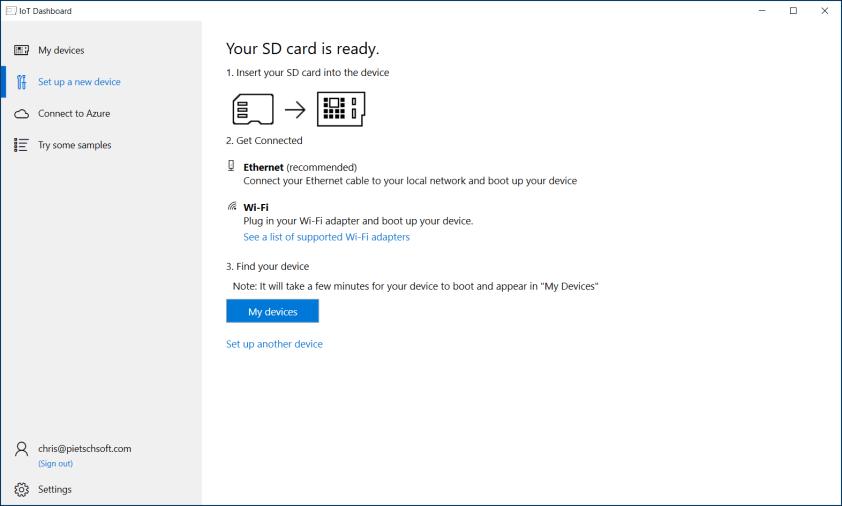 Setup Raspberry Pi with Windows 10 IoT Core