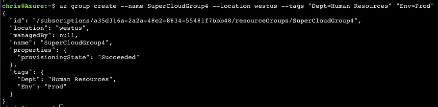 Azure CLI 2.0: Manage Resource Groups 2