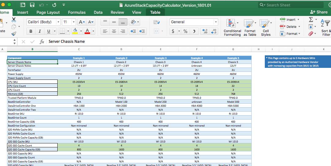 Azure Stack Capacity Planner Excel Spreadsheet