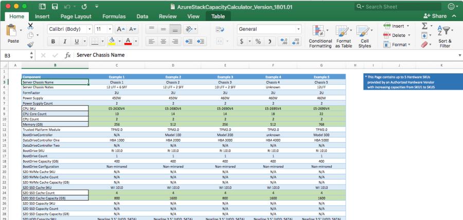 Azure Stack Capacity Planner Excel Spreadsheet 1