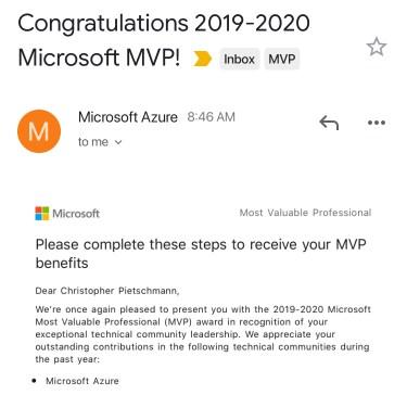 Chris Pietschmann Awarded 2019 Microsoft MVP in Azure 1