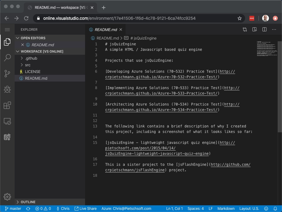 Visual Studio Codespaces - Web-based Editor