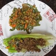 Lentil lettuce wrap and pea, carrot, quinoa salad over spinach pasta