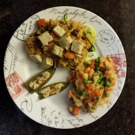 Veggies and rice over zucchini pasta, topped with hemp tempeh. Parsnips and carrot mash with peas. Stuffed jalapeno peppers.