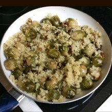 Brussel sprouts, with quinoa, and rehydrated unsulfured apricots tossed with garlic infused olive oil.