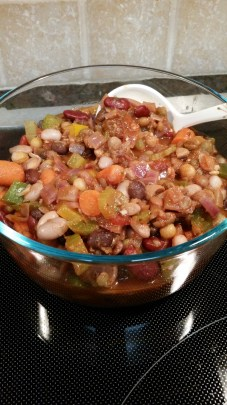 Very Veggie Chili made with Epicurean Speciality heirloom bean blend