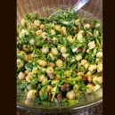 Chickpea, spinach, and cilantro salad with a sweet and tangy dressing