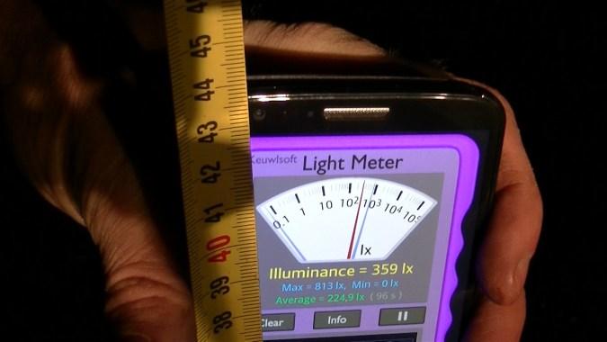 Si on redescend à 43 cm, la luminosité est de 359 lx