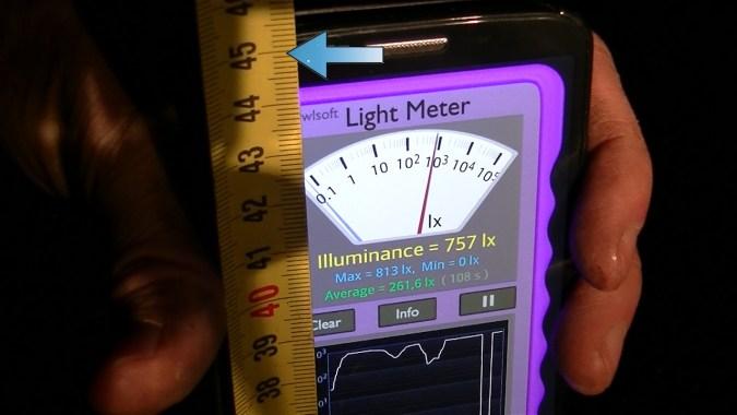 La valeur à retenir est la hauteur à laquelle vous avez obtenu ce flux lumineux maximum