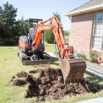 Digging the hole for the pool.