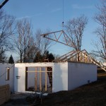 ICF walls with roof trusses being installed