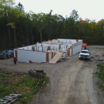 Bracing and aligning the walls.