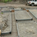 Placing rebar in the foundation.