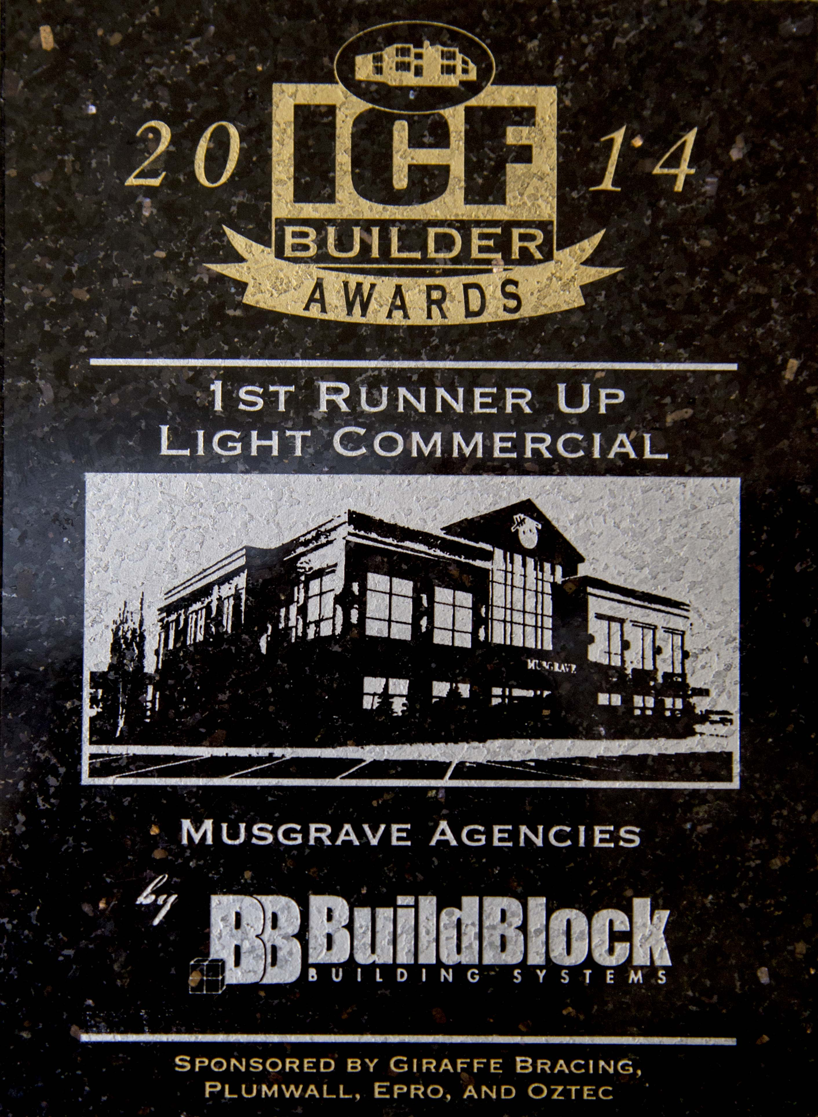 Press Release: Musgrave Agencies Wins First Runner up Press Release: Light Commercial Project Using BuildBlock ICFs at the 2014 National ICF Builder Awards