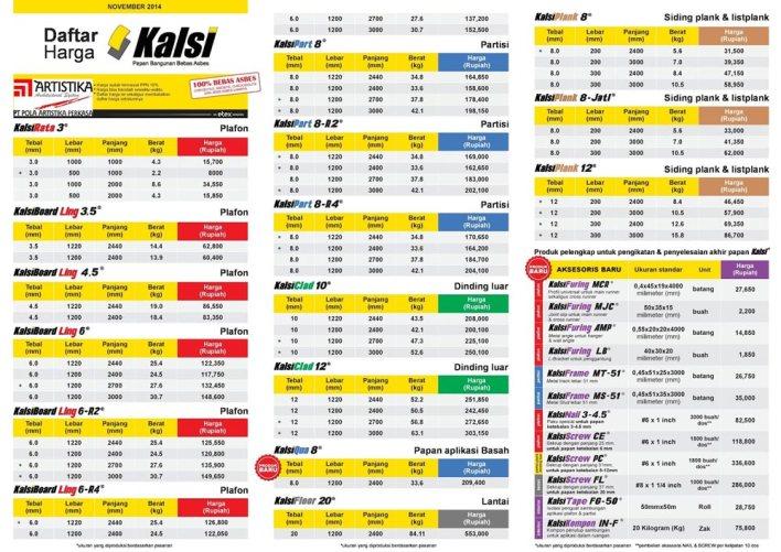 daftar harga kalsiboard