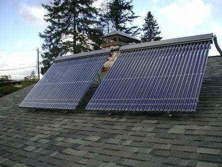 Evacuated Tube Solar System Roof Installation