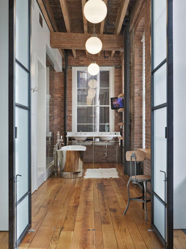 Beautiful Rustic Industrial Bathroom With Exposed Brick With Industrial  Design Bathroom
