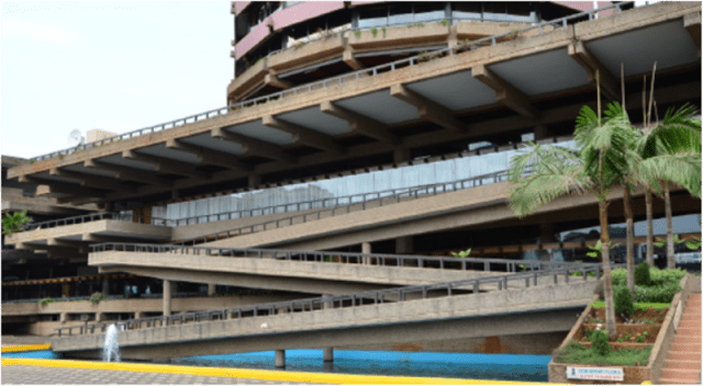 One of the approaches to the main entrace of KICC which has scissor ramps