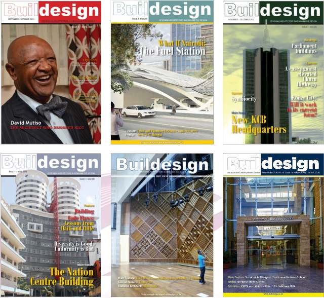 Covers of previous issues of BUILDesign Magazine