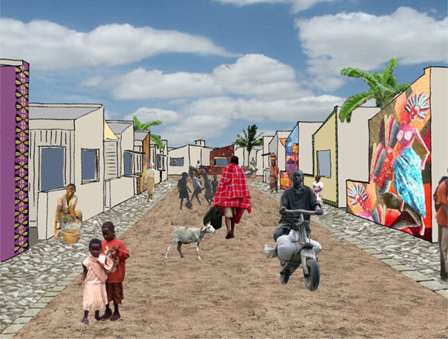 An artists imression of a street in the redeveloped Kariobangi area