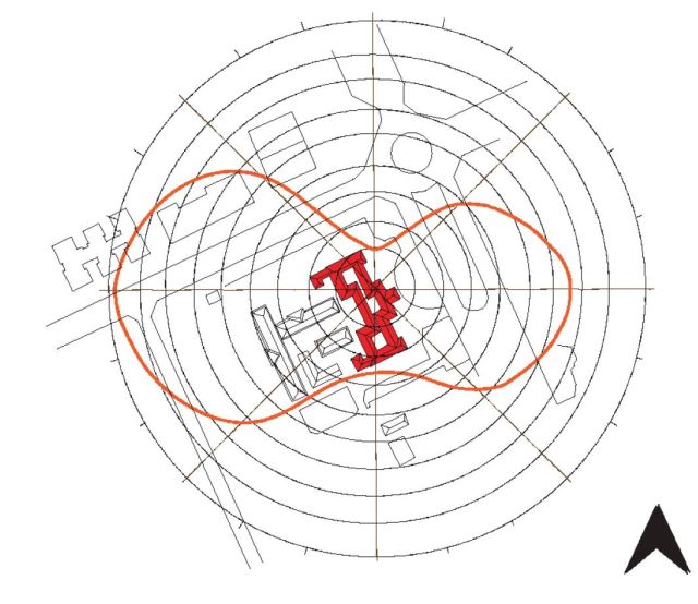 The building orientation in relation to the sun path