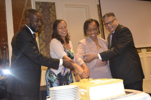The cutting of the cake by the chapter's chairperson Arch. Wilson Mugambi, AAK President Arch. Emma Miloyo, Chief guest PS Aidah Munano and Basco Paints MD Mr. Kamlesh Shah