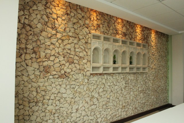 A feature wall with coral stones