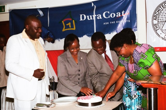 Cutting of Christmas Cake during the AAK Gala Dinner - Arch. Steven Oundo, Arch. Aidah Munano, Hon. Chris Obure, Plan. Irene Keino and Dr. Mary Kimani