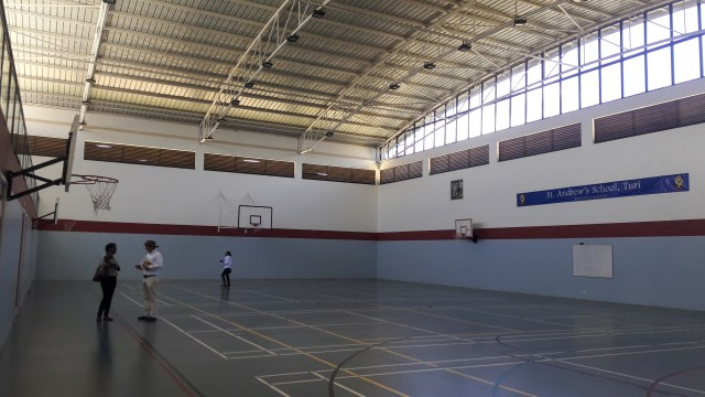 The interior of the sports hall