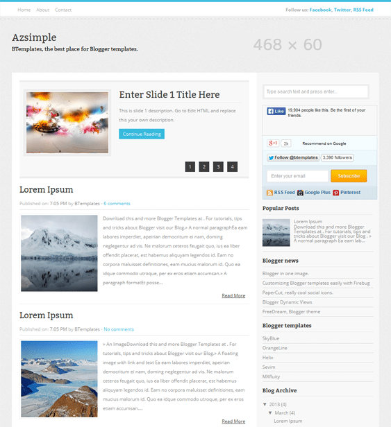 azsimple minimal blogger theme