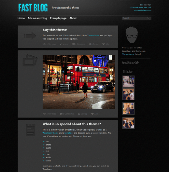 fast blog dark tumblr theme