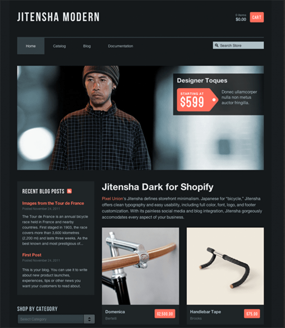 jitensha black dark shopify theme