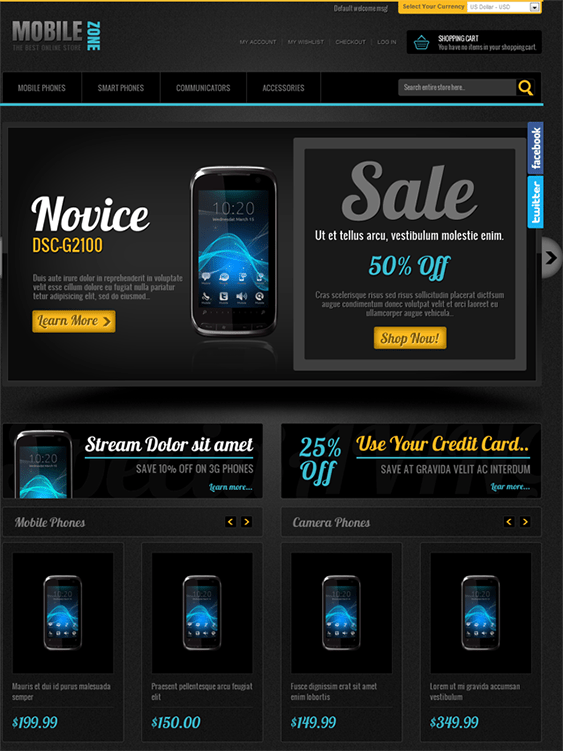 mobile zone dark magento theme